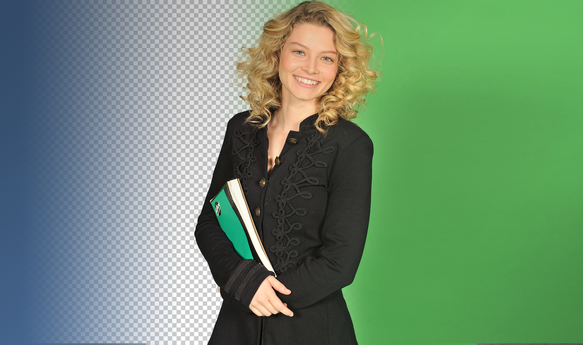 Model with blue and green in the background for chroma keying