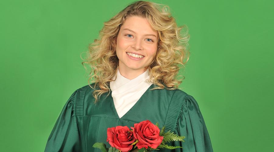 Graduation photo on a green screen