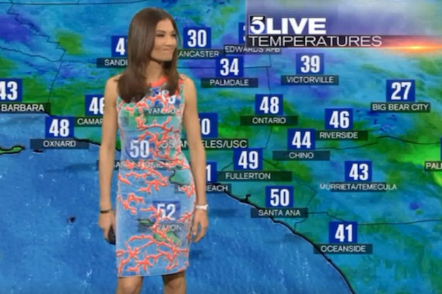 Green Screen fail - Weather board shows through weather woman's dress