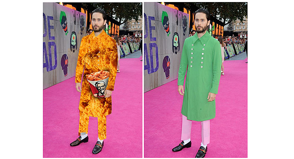 Jared Leto Green Jacket keyed and turned into KFC