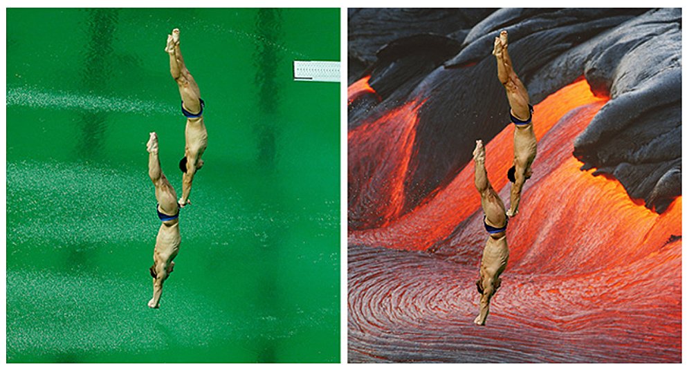 Divers diving into green pool water at the 2016 Rio Olympics