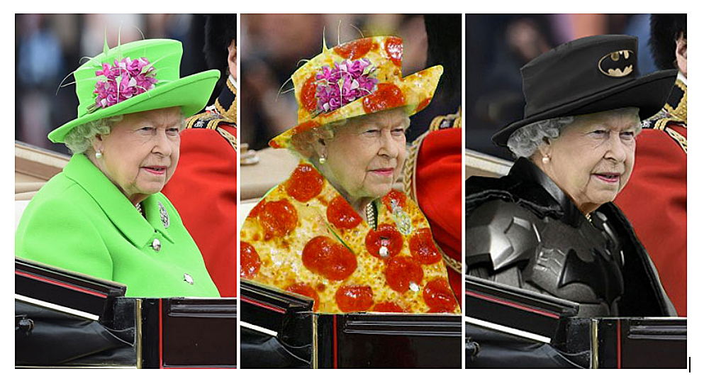 Queen Elizabeth wearing a Chroma Key Green outfit turned into Pizza and batman