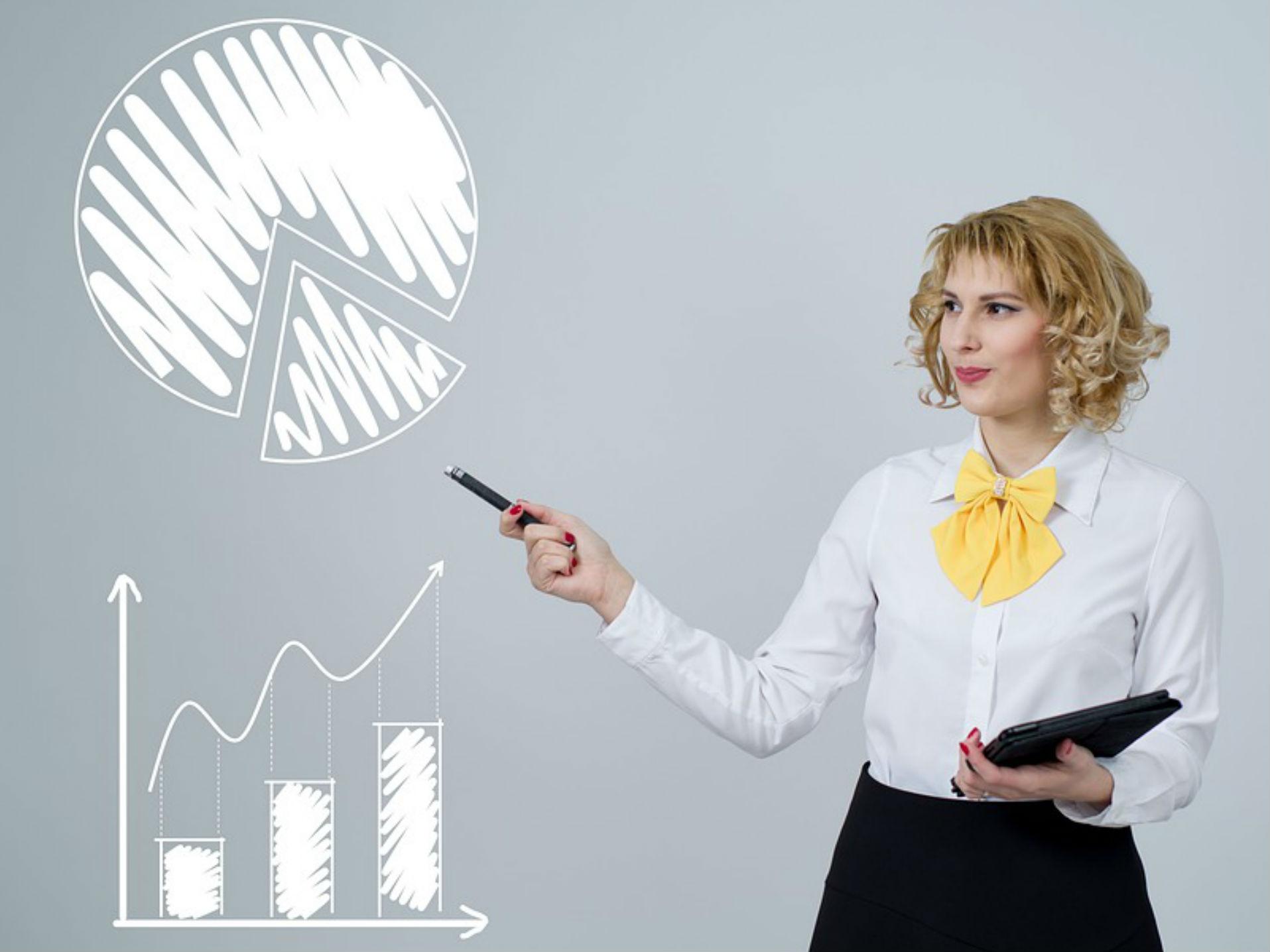 Woman presenting KPI Statistics