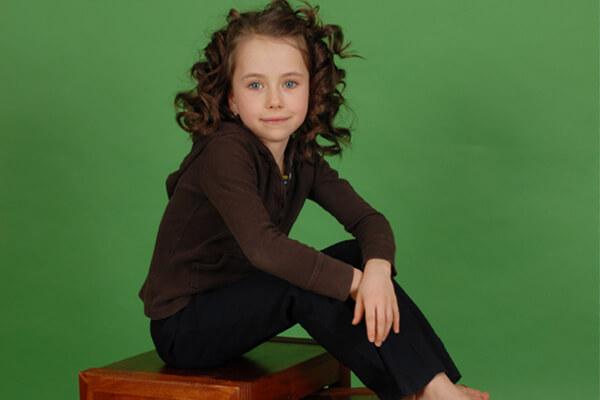 Little girl portrait on green screen