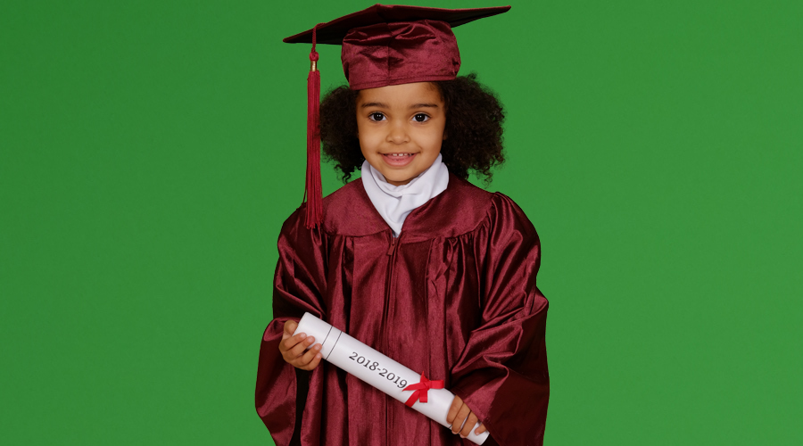 Graduation photo on a green screen