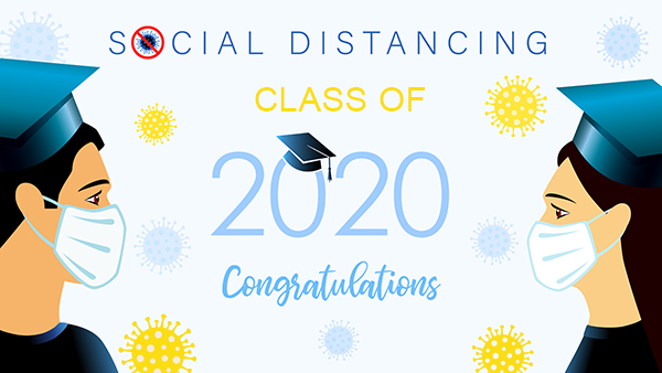 Social distancing concept with students 2020 graduates