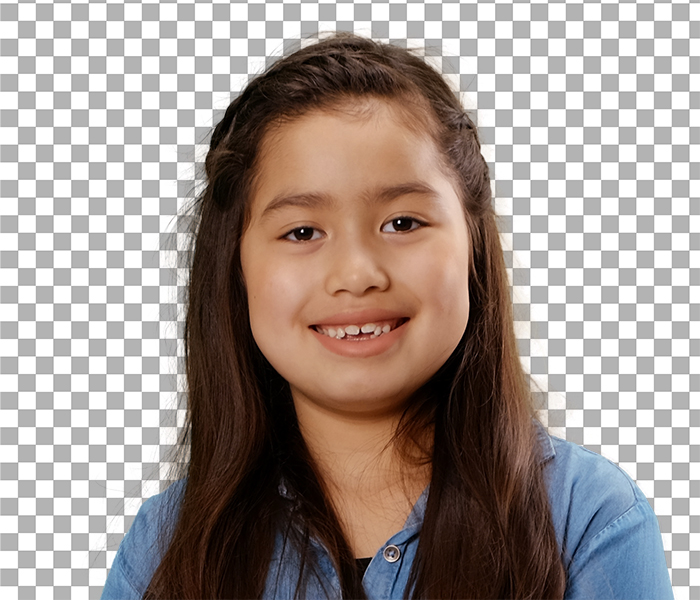 Background removal of a Professional Portrait of a girl on a Masters background