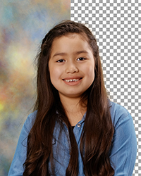 Professional Portrait of a girl on a maskers background with half the background removed.