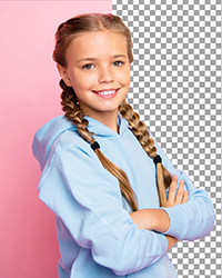 Professional Portrait of a girl on a pink screen with half the background removed.