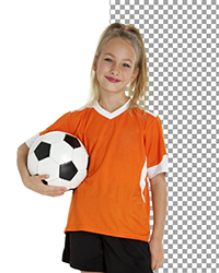 White Screen removal. Professional Portrait of a girl with a soccer ball and green jersey