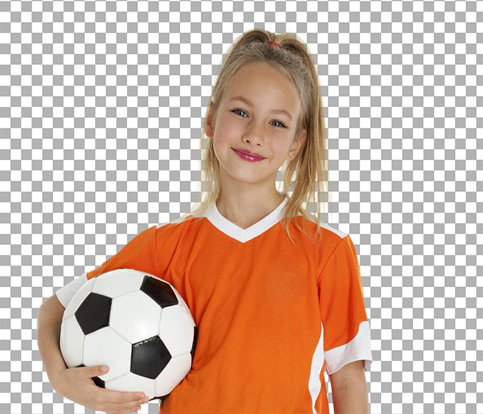 Background removal of a girl holding a soccer ball wearing an orange jersey