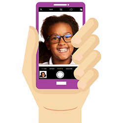 Girl taking a selfie with a purple phone