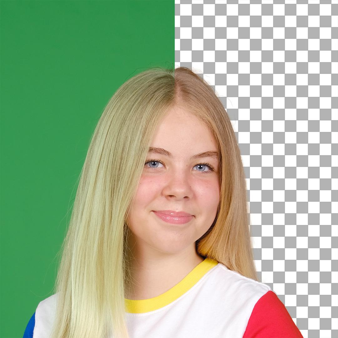 Green Spill in blonde hair
